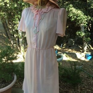 Vintage Easter Sheer Pink Girl Next Door  Dress 8